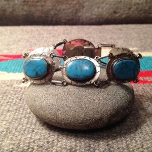 Jewelry - Vintage Sterling and Turquoise Cabochon Bracelet
